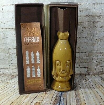 Vtg 1960's OLD CROW Limited Chessman Chess Piece Ceramic Decanter  Light Pawn