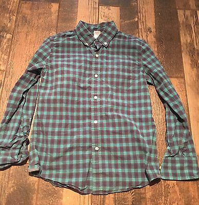 J Crew Crewcuts Boys Long Sleeve Button Up Shirt Size 10 Green Blue