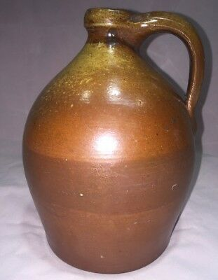 Antique Southern Pottery Whiskey Jug Orange Brown Banded  Seagrove NC TN GA