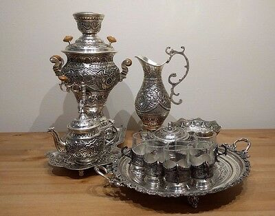 Persian Isfahan Hand Chased Samovar Set (Silverplated)