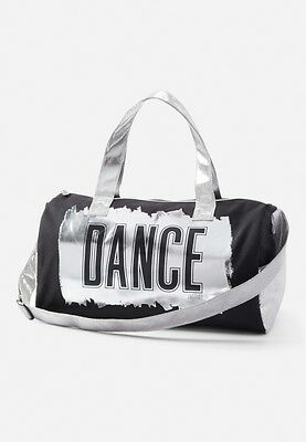 Justice Girls Metallic Dance Sport Bag Duffle Tote Cute New with Tags Silver