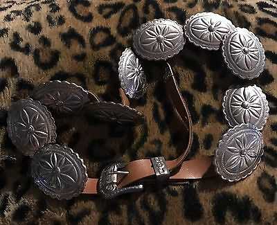 Vintage Leather Belt With Silver Oval Concho S