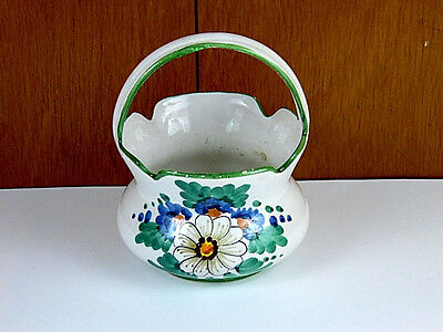Vintage Italian Pottery Art Hand Painted Glazed Ceramic Flower Basket