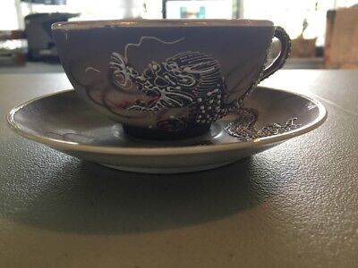 Tea Cups And Saucers, Hand Painted, Dragon, Made In Japan