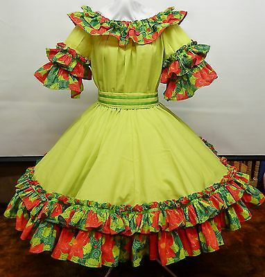 2 Pc Apple Green And Poinsettia Christmas In July Square Dance Dress