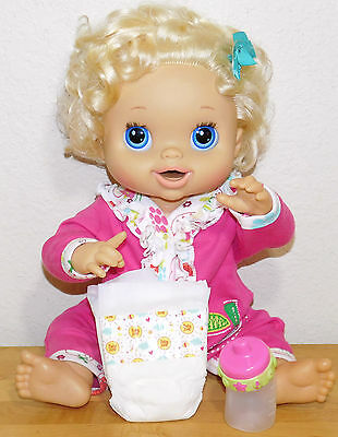 """2010 Real Surprises Baby Alive Blonde Curls Doll """" Magnetic Bottle * 2 Diapers"""