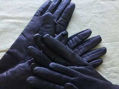 2 Pair Black Leather Women's Gloves Medium / Large