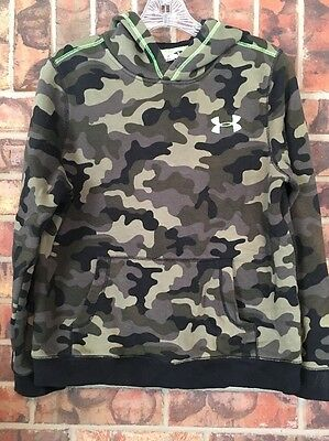 Youth Boys YLG Under Armour UA Camo Hunting Hoodie Pullover Sweatshirt Jacket