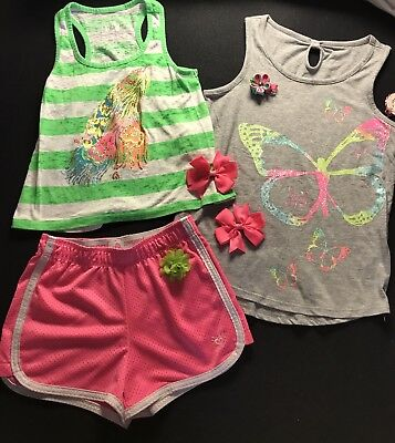 Girls Size 7/8~ Justice 2 Piece Set With Coordinating S O Shirt & Bows