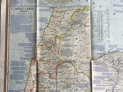 Vintage National Geographic Society Map of The Lands of The Bible c1956