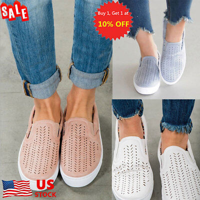 US Women Hollow Out Round Toe Breathable Slip On Shoe Flats Trainers Sneakers
