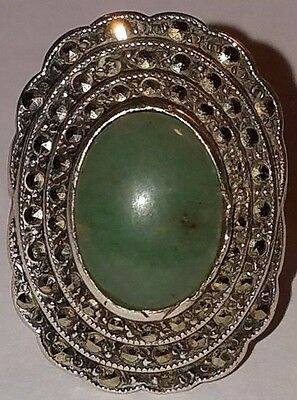 Antique Art Deco Sterling Silver Marcasite & Green Stone Ring by Uncus Size 7