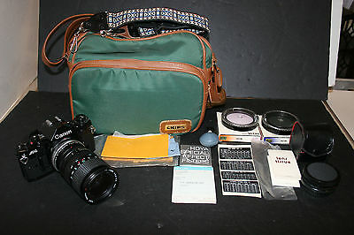 Vintage Canon Black A-1 Camera 28-70mm Zoom Lens Bag Filters Accessories