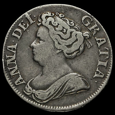 1711 Queen Anne Early Milled Silver Shilling, Fourth Bust, VF #2