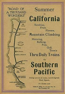 1911 California route Southern Pacific railroad ad page Summer in California