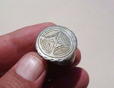 ancient massive Middle Ages - Byzantine carved silver-gilt ring