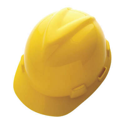 MSA Hard Hat,4 pt. Ratchet,Ylw, 10150200, Yellow