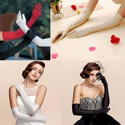 WA_004 Ladies Long Satin Gloves Opera Costume Bridal Party Prom Wedding Womens