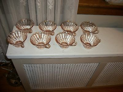 Set of 8 Block Optic Pink Depression Glass Flared Cups