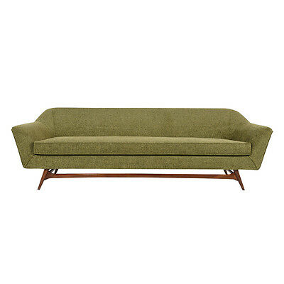 Danish Mid-Century Modern-style Sofa Modernism Green Fabric, Walnut Wood Base