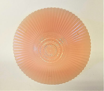 Vintage Art Deco frosted Embossed Heavy Glass Ceiling Light Fixture Pink Shade
