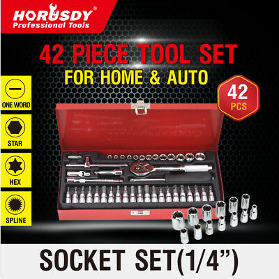 """42Pc Socket Wrench Set 1/4"""" Ratchet Drive Metric Flexiable Extension Bar In Case"""