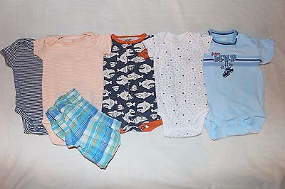 6 Piece Baby Boys' Newborn Lot Carter's, Garanimals  NB