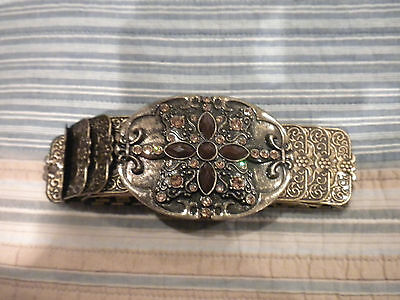Stunning Women's Ladies' Gold Embellished stretch belt 30.5 inches 1 3/4 width