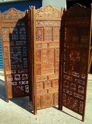 """Vintage Oriental Hand Carved Wooden Screen Room Divider 4 Panel 73""""Hx80""""W"""