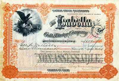 1893 Isabella Gold Mining Stock (Cripple Creek, CO) signed by Percy Hagerman