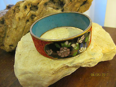 Antique Brass Chinese hand carved Cinnabar Cloisonne bangle bracelet