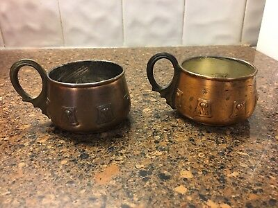 Mission Arts & Crafts Pair Of Copper Handled Cups