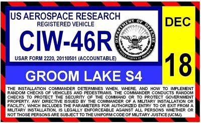 Groom Lake AFB Area S4 Parking Decal Area 51 FREE Shipping USA Seller