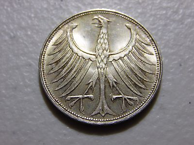 Germany 1965-G 5 Mark Silver Coin AU About Uncirculated Condition as Pictured