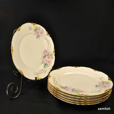 Bavaria Hutschenreuther Set of 6 Luncheon Plates 1932-1939 Pink Roses w/Gold