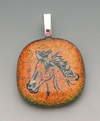 Copper color Horse Head Pendant dichroic fused glass jewelry
