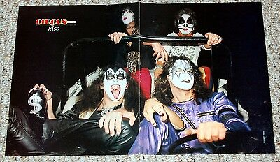KISS 1975 Group Pose In Jeep Poster Magazine Centerfold Aucoin Simmons Frehley
