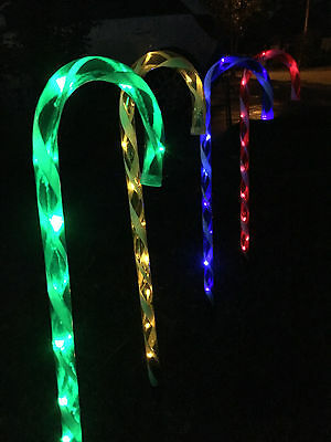 4 PCS 40 LED Multi-coloured Candy Canes Solar Christmas Garden Outdoor Lights