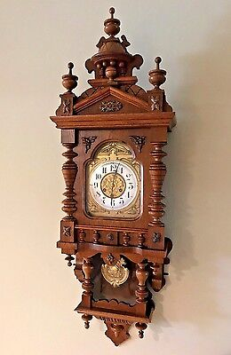 GORGEOUS LARGE FREESWINGER BALCONY STRIKE ANTIQUE WALL CLOCK JUNGHANS circa 1890