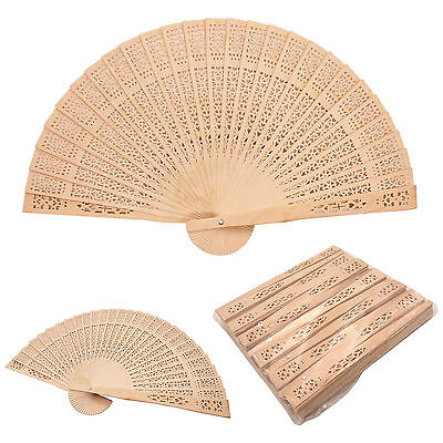 12 pcs Chinese Sandalwood Style Wooden Hand Fans Bridal Favor Wedding Decor