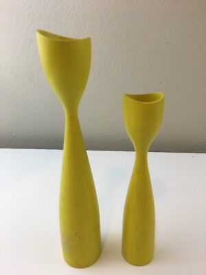 Mid Century Wood Candlesticks Yellow Set Of Two Danish