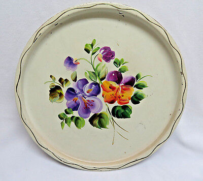 """Vintage Hand Painted Round White 11"""" Tole Tray  rb14"""