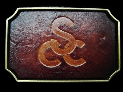 LI01141 *NOS* VINTAGE 1970s **SCC** LEATHER & SOLID BRASS BELT BUCKLE