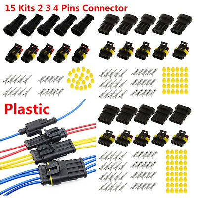 15 Kits 2 3 4 Pins Way Sealed Electrical Wire Connector Plug For Car Motorcycle