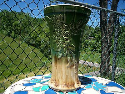 Robinson Ransbottom Floor Vase Green and Tan  Marked  491 - 14""