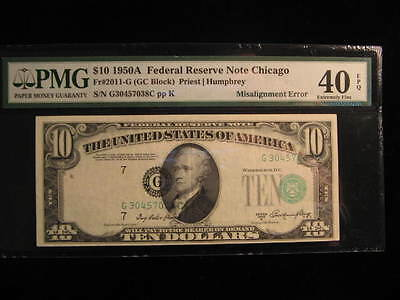 1950A-$10.00-Federal Reserve Note- Major Shift Misalignment Error-PMG 40-Look!!