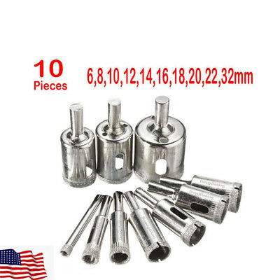 3X 14mm Diamond Drill Bit Set Hole Saw Cutter 2 Slot Glass Granite Ceramic Tile