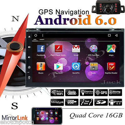 "Pure Android 6.0 7"" Car Stereo Radio Double 2 DIN 3G WIFI GPS DVD Player+Camera"