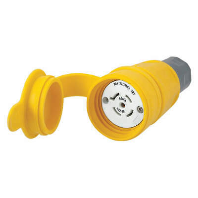 Thermoplastic Elastomer, Valox Connector,L22-20R,20A,277/480VAC,Yellow, HBL27W82
