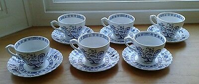 J G Meakin Classic Nordic White Blue Onion England 6 Saucers & 6 Coffee Cups